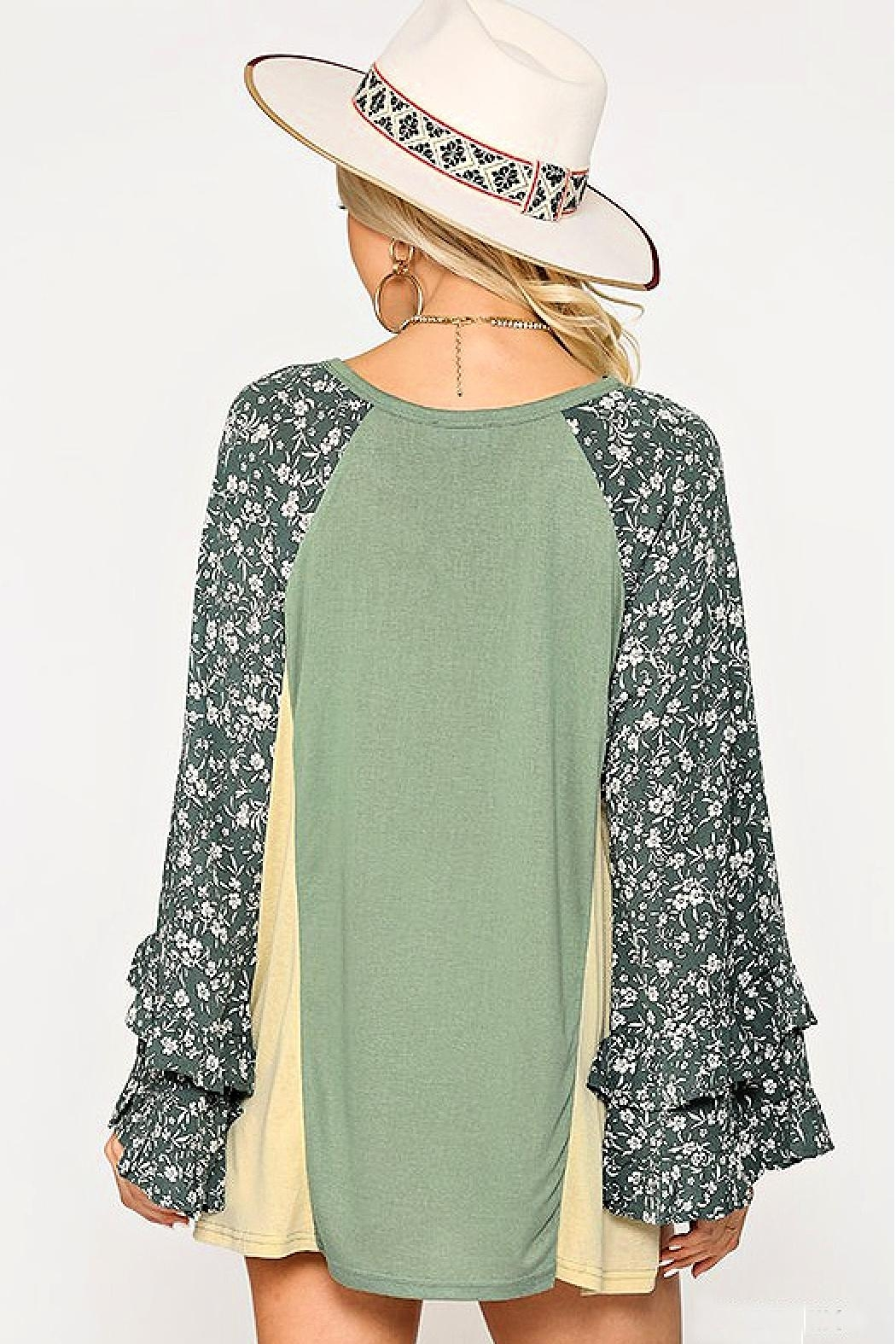 GiGiO Ditsy-Floral Color-Block Top - Front Full Image