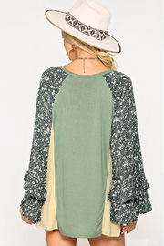 GiGiO Ditsy-Floral Color-Block Top - Front full body