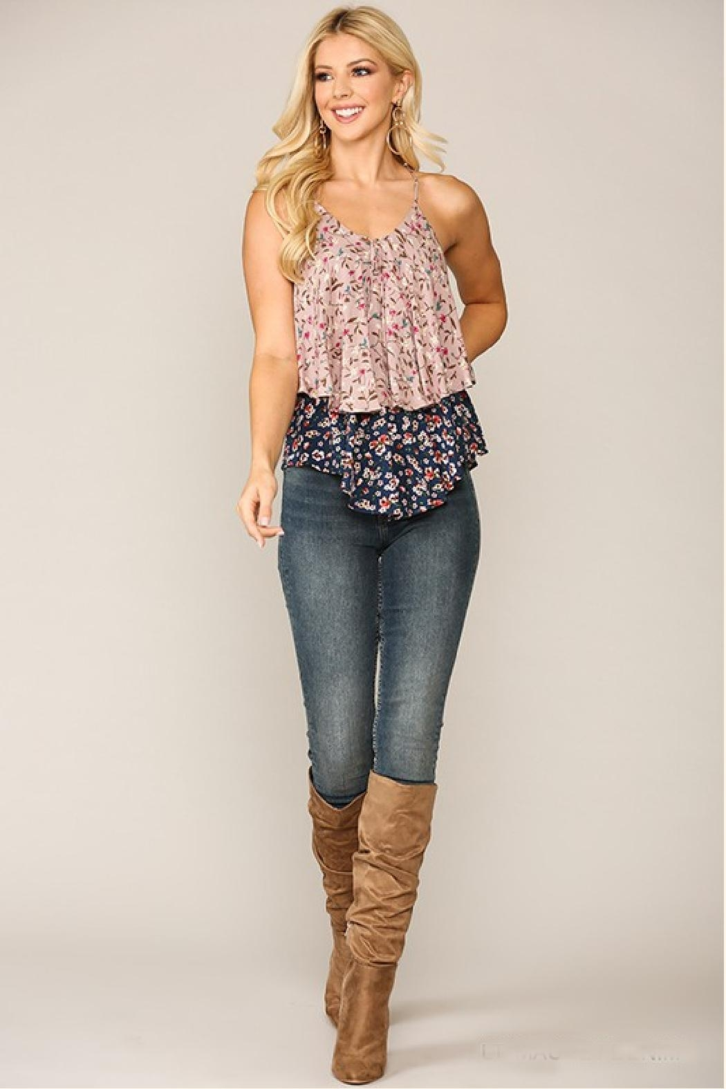 GiGiO Double-Layer Floral Cami - Side Cropped Image
