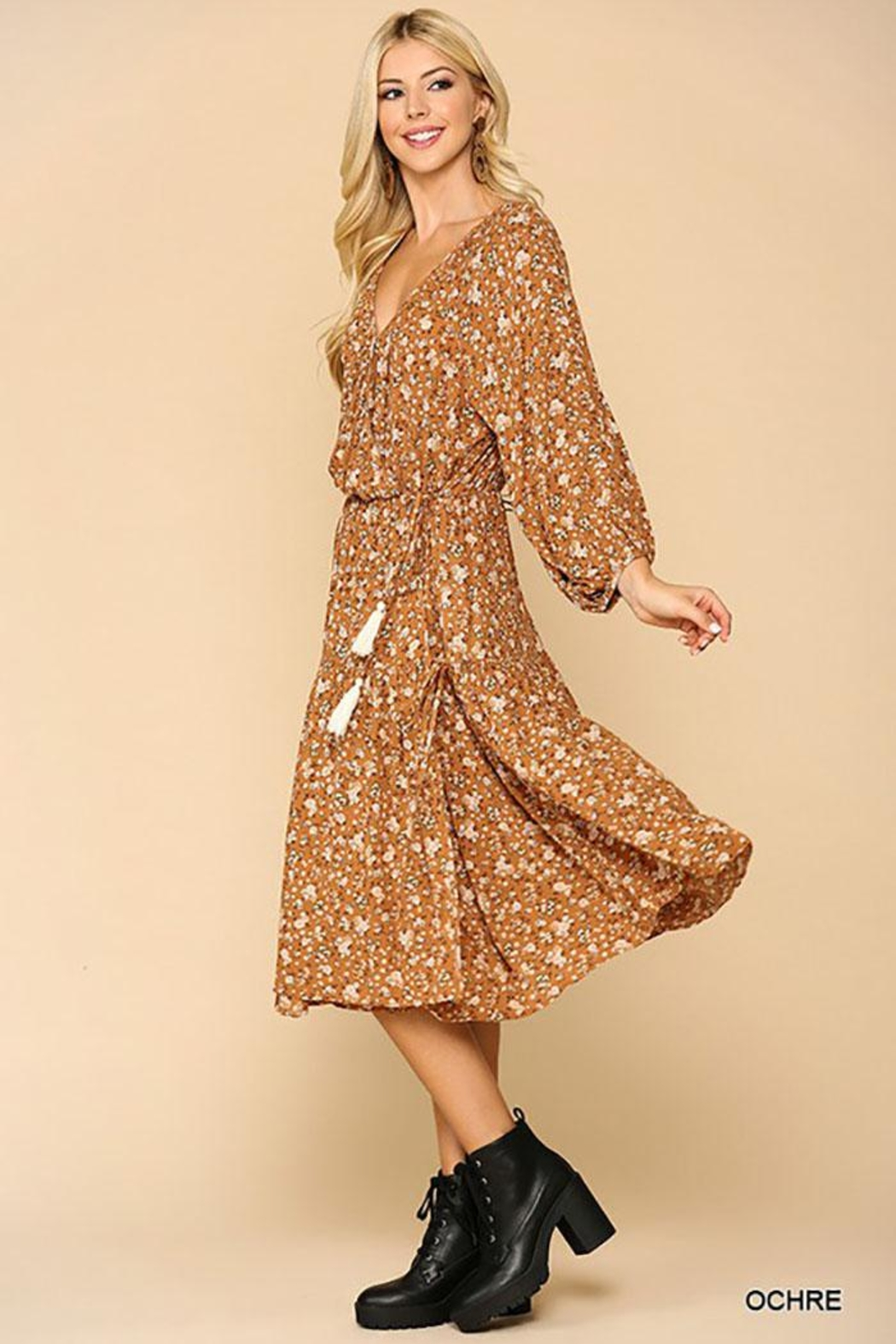 Mint Cloud Boutique Floral Puff Sleeve Wrap Midi Dress With Tassle Tie - Front Cropped Image