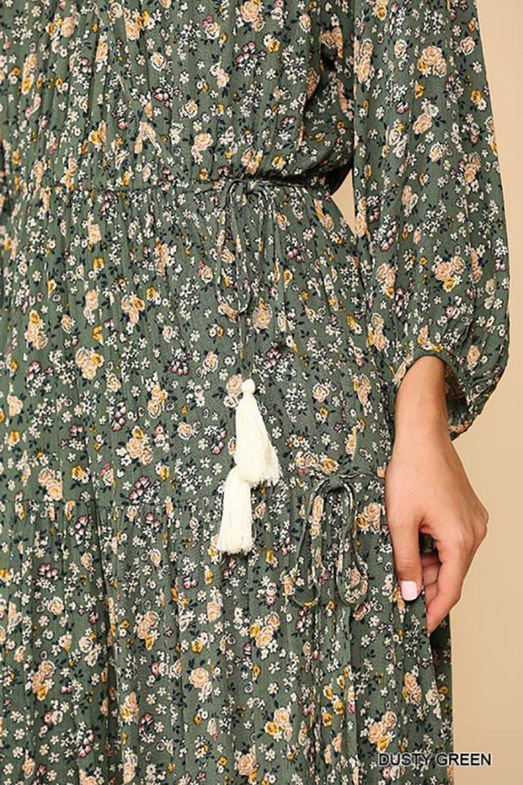 Mint Cloud Boutique Floral Puff Sleeve Wrap Midi Dress With Tassle Tie - Back Cropped Image