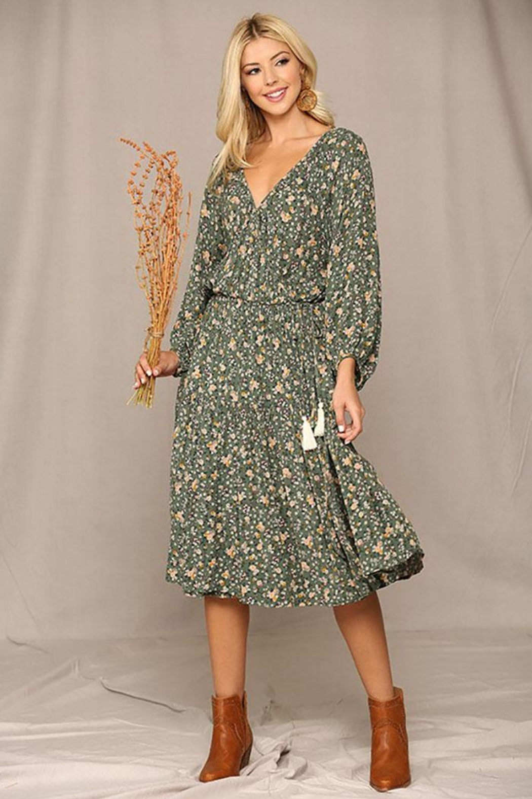 GiGiO Floral Puff Sleeve Wrap Midi Dress With Tassle Tie - Front Cropped Image