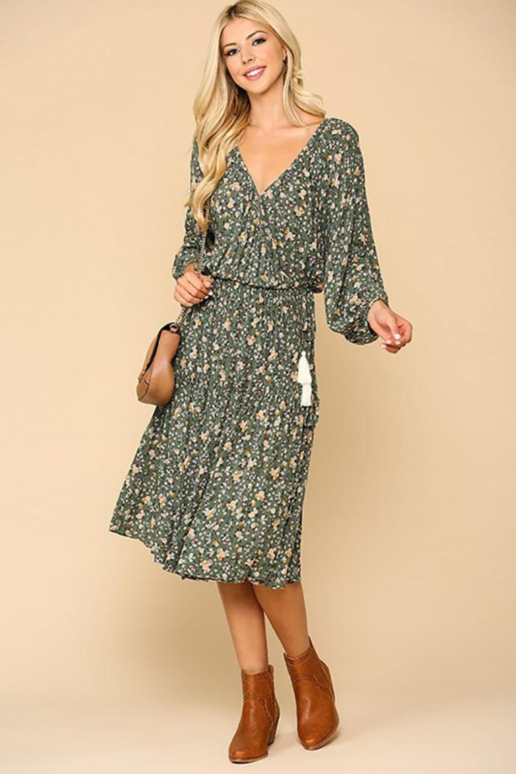 Mint Cloud Boutique Floral Puff Sleeve Wrap Midi Dress With Tassle Tie - Front Full Image