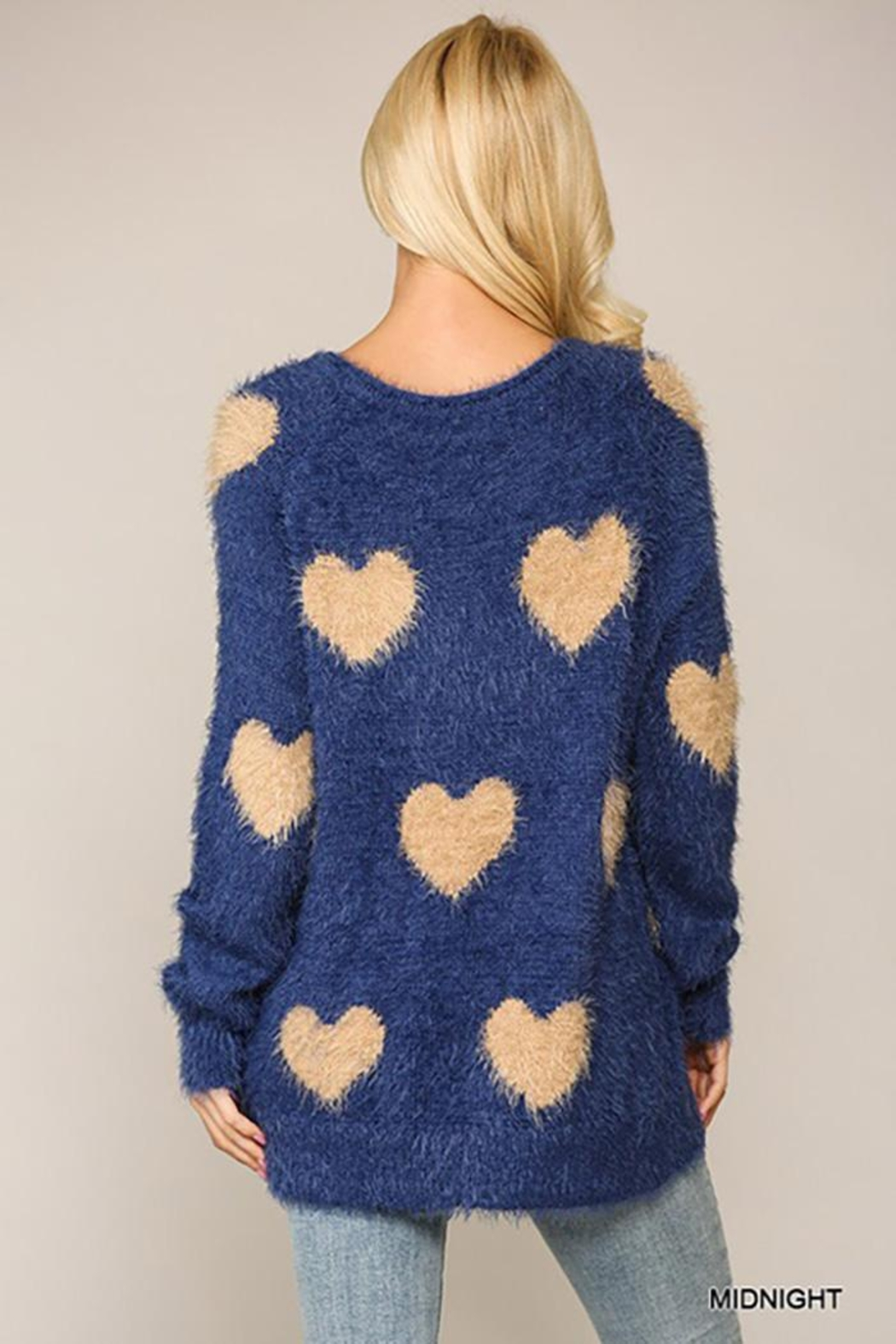 GiGiO Heart Pattern Long Sleeves Soft Sweater Top - Back Cropped Image