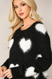 GiGiO Heart Pattern Long Sleeves Soft Sweater Top - Back cropped