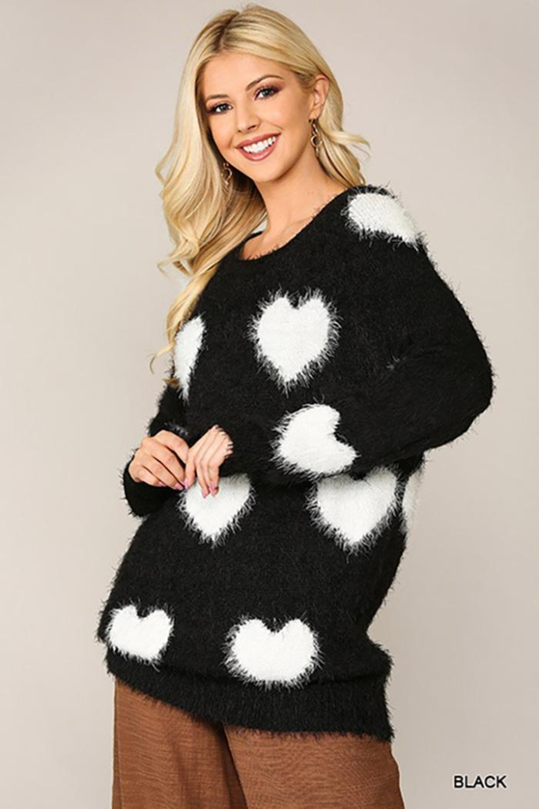 GiGiO Heart Pattern Long Sleeves Soft Sweater Top - Front Cropped Image