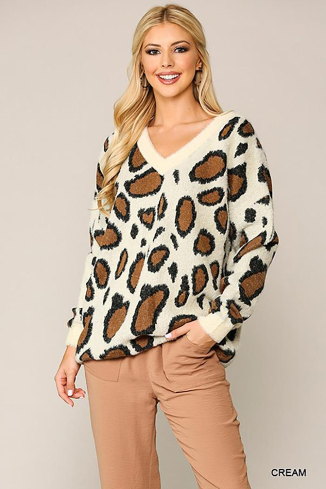 GiGiO Leopard Pattern V-Neck Soft Sweater Top - Front Cropped Image
