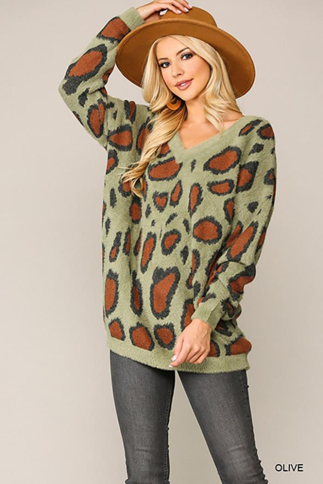 GiGiO Leopard Pattern V-Neck Soft Sweater Top - Main Image