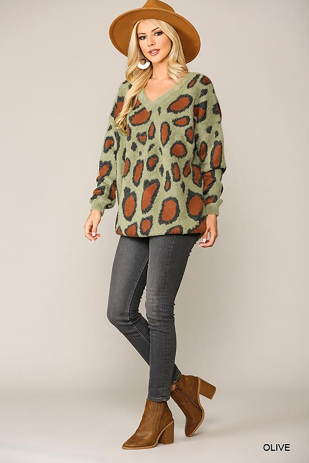 GiGiO Leopard Pattern V-Neck Soft Sweater Top - Front Full Image