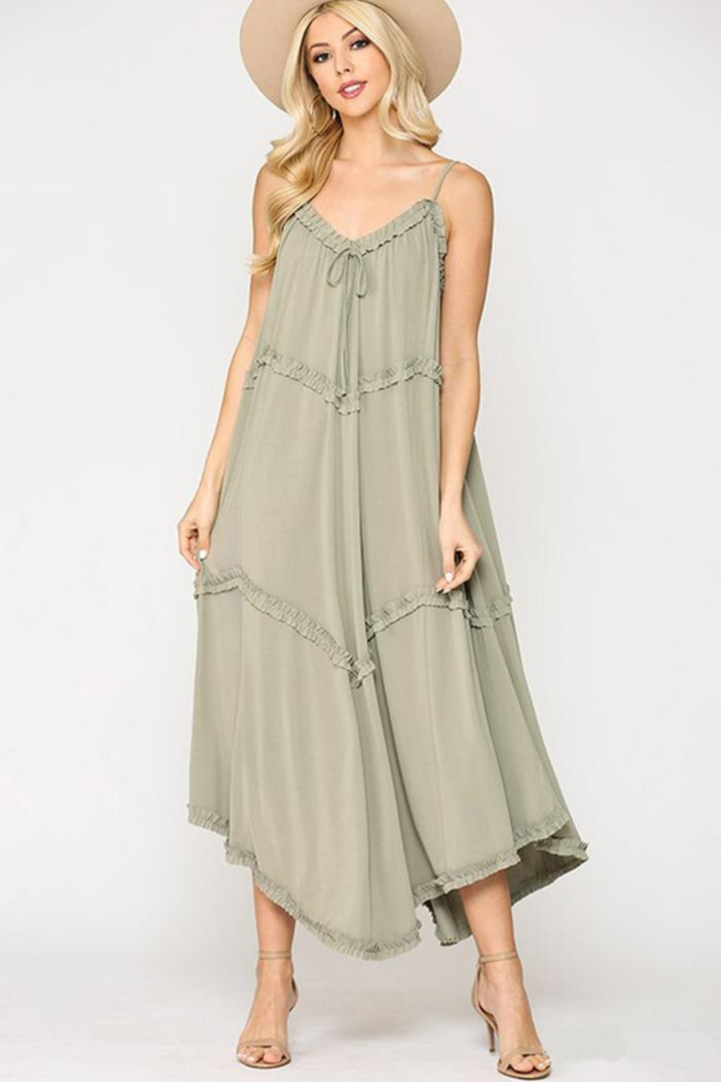 GiGiO Soft Cupro Modal Sleeveless Casual Maxi Dress With Ruffle - Front Cropped Image