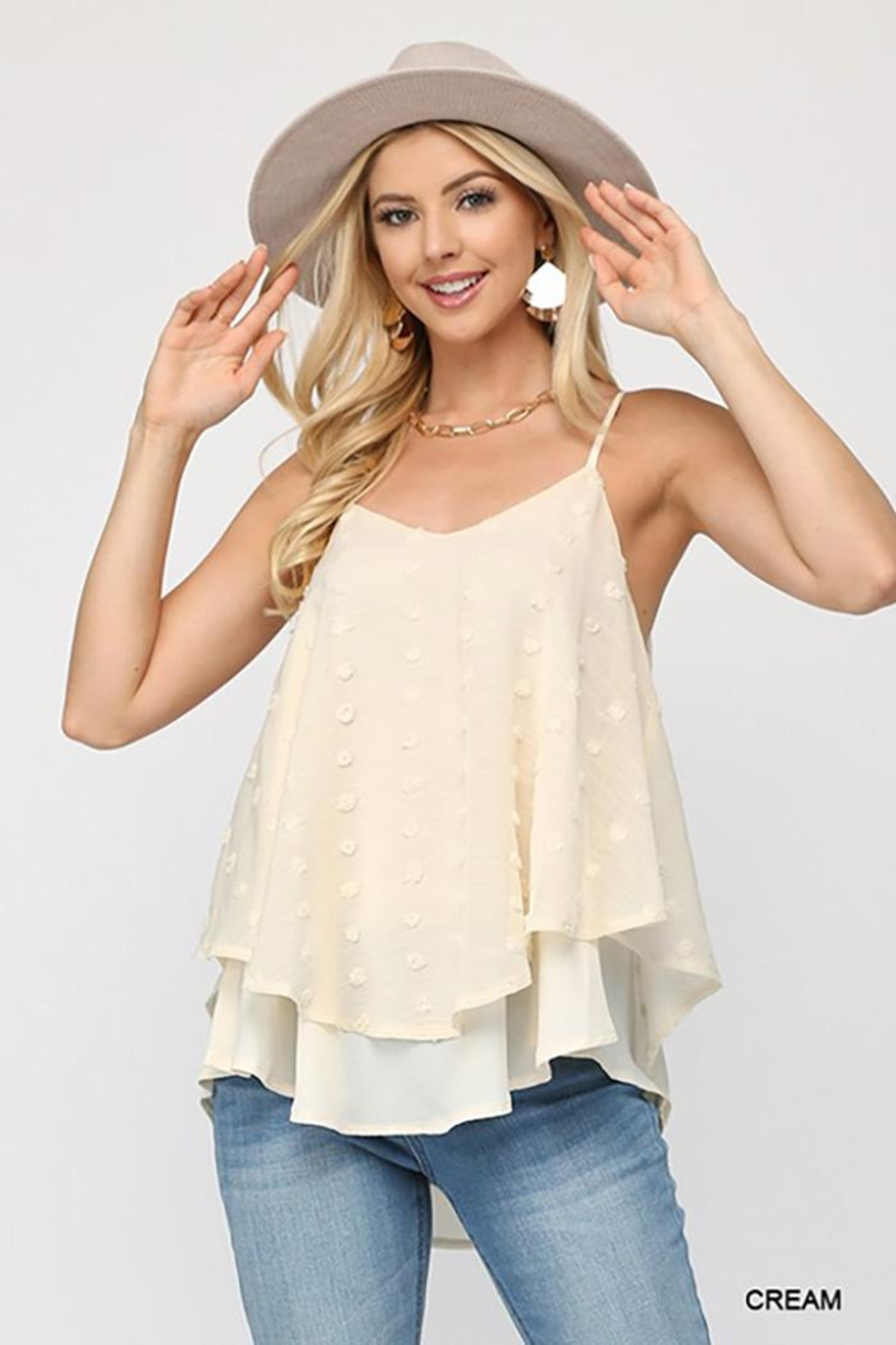 GiGiO Woven Dot Fabric Cami Top - Back Cropped Image