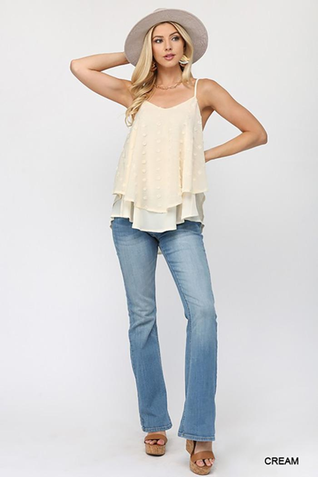 GiGiO Woven Dot Fabric Cami Top - Side Cropped Image