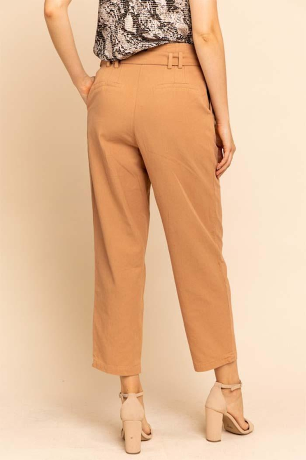 Gilli Belted Salmon Pants - Side Cropped Image