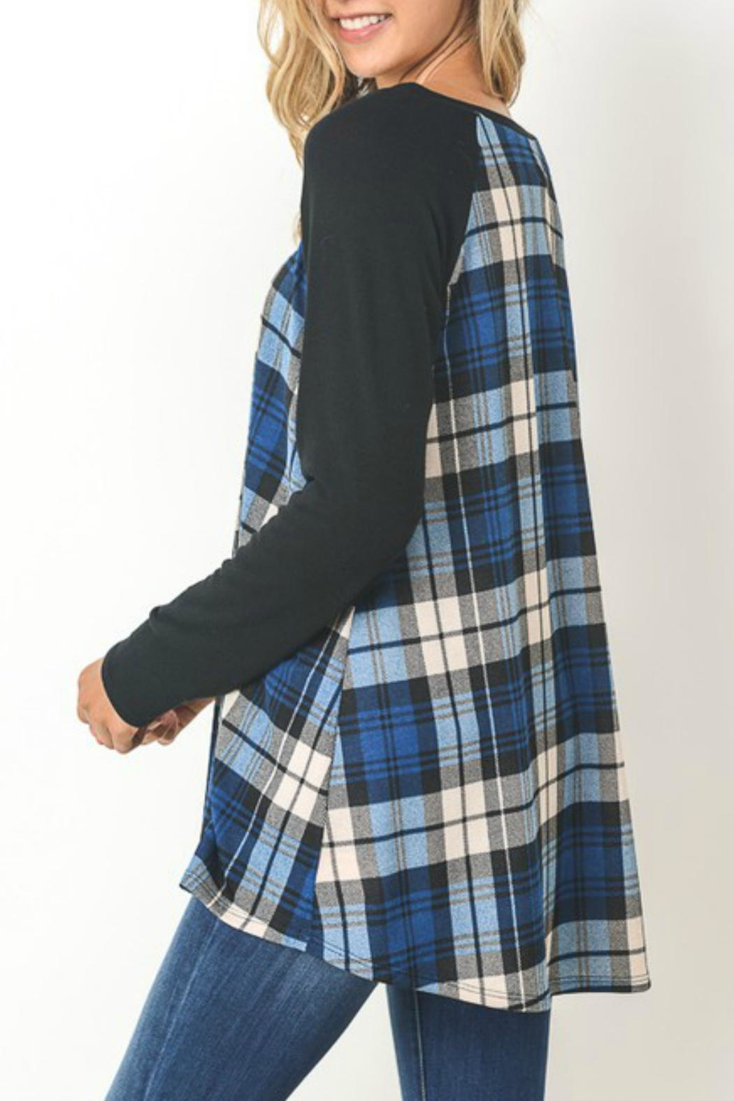 Gilli Blue Plaid Sweater - Front Full Image