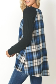 Gilli Blue Plaid Sweater - Front full body