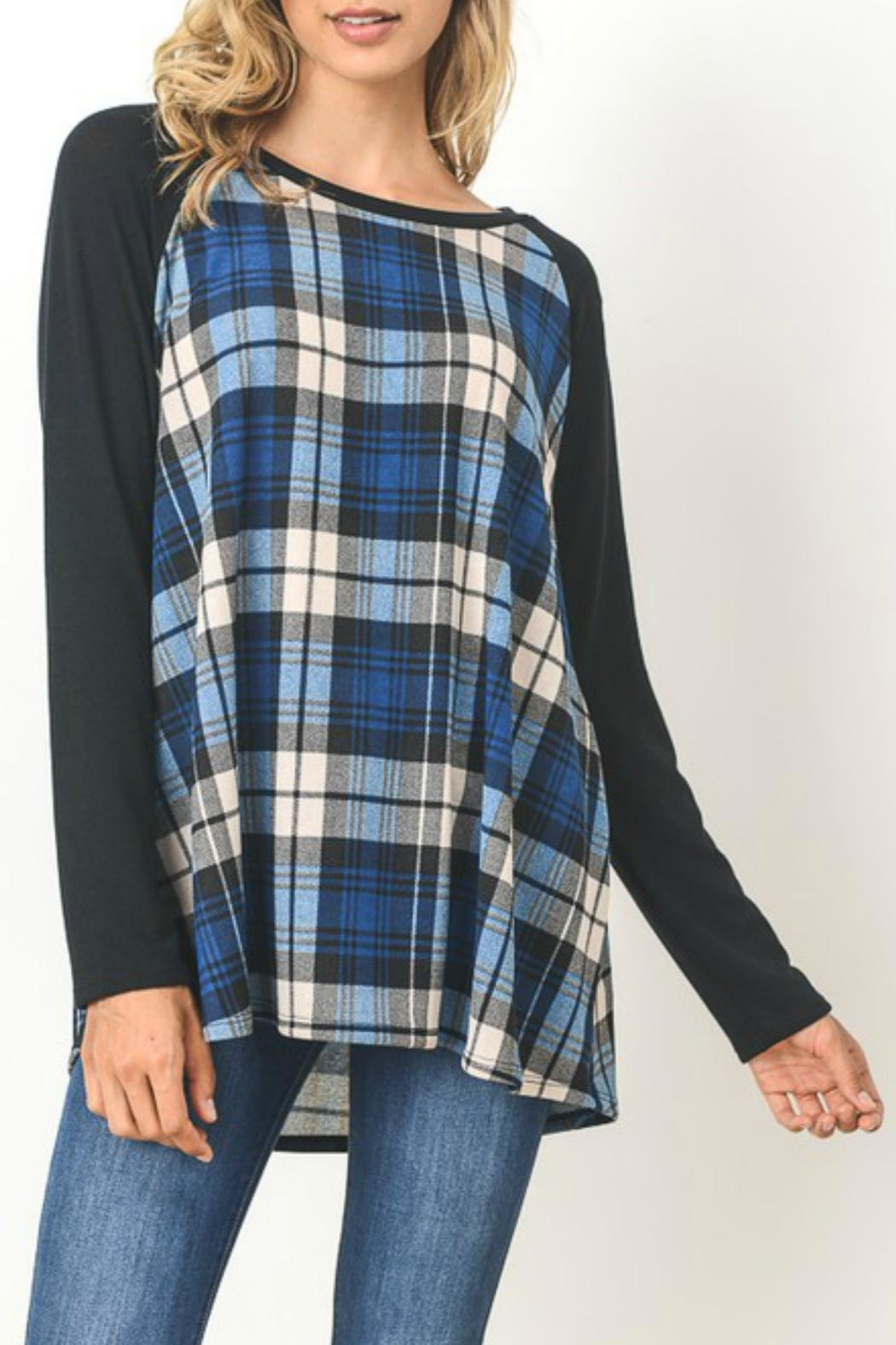 Gilli Blue Plaid Sweater - Front Cropped Image
