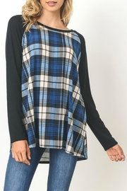 Gilli Blue Plaid Sweater - Front cropped