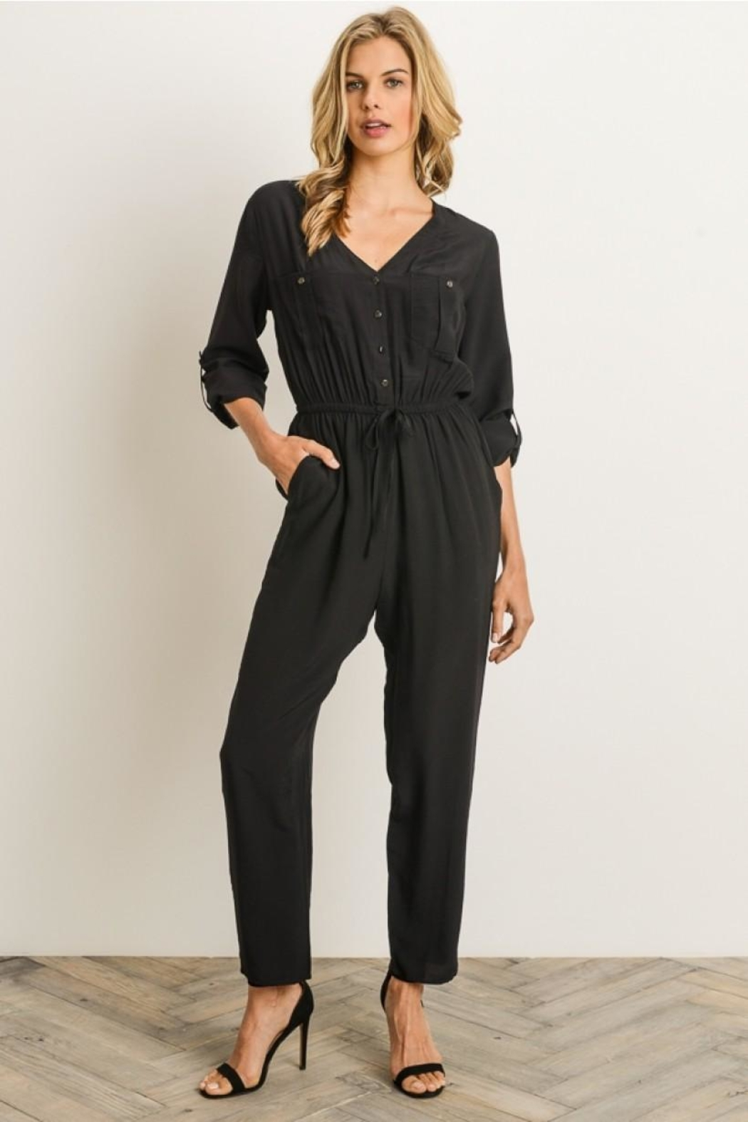 Gilli Button Front Jumpsuit - Front Cropped Image