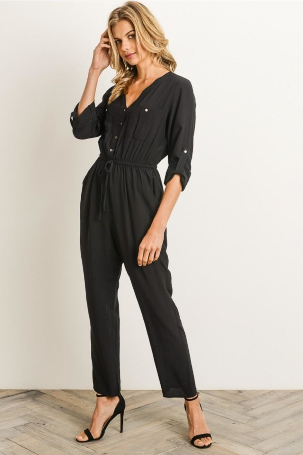 Gilli Button Front Jumpsuit - Back Cropped Image