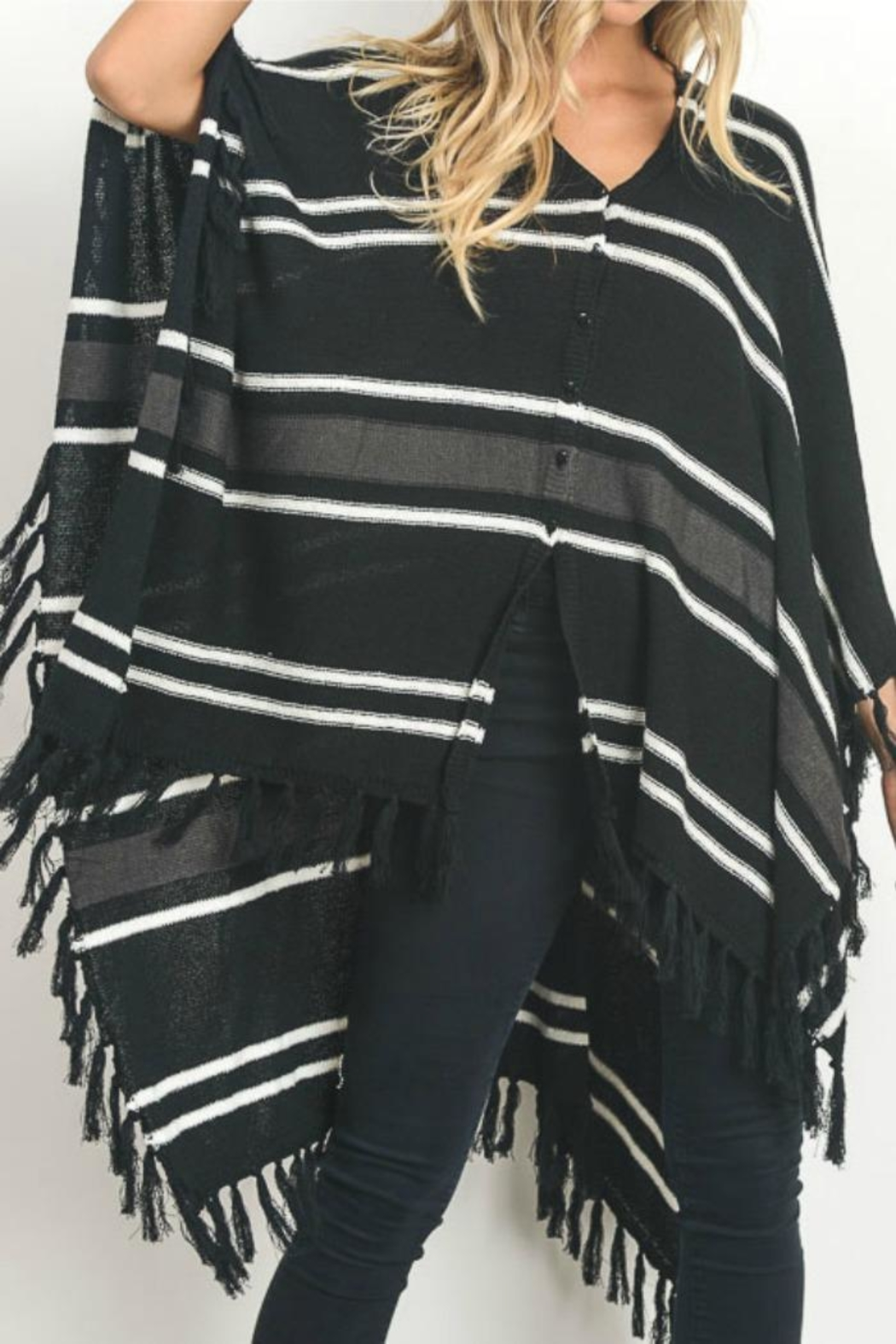 Gilli Button Front Poncho - Front Cropped Image