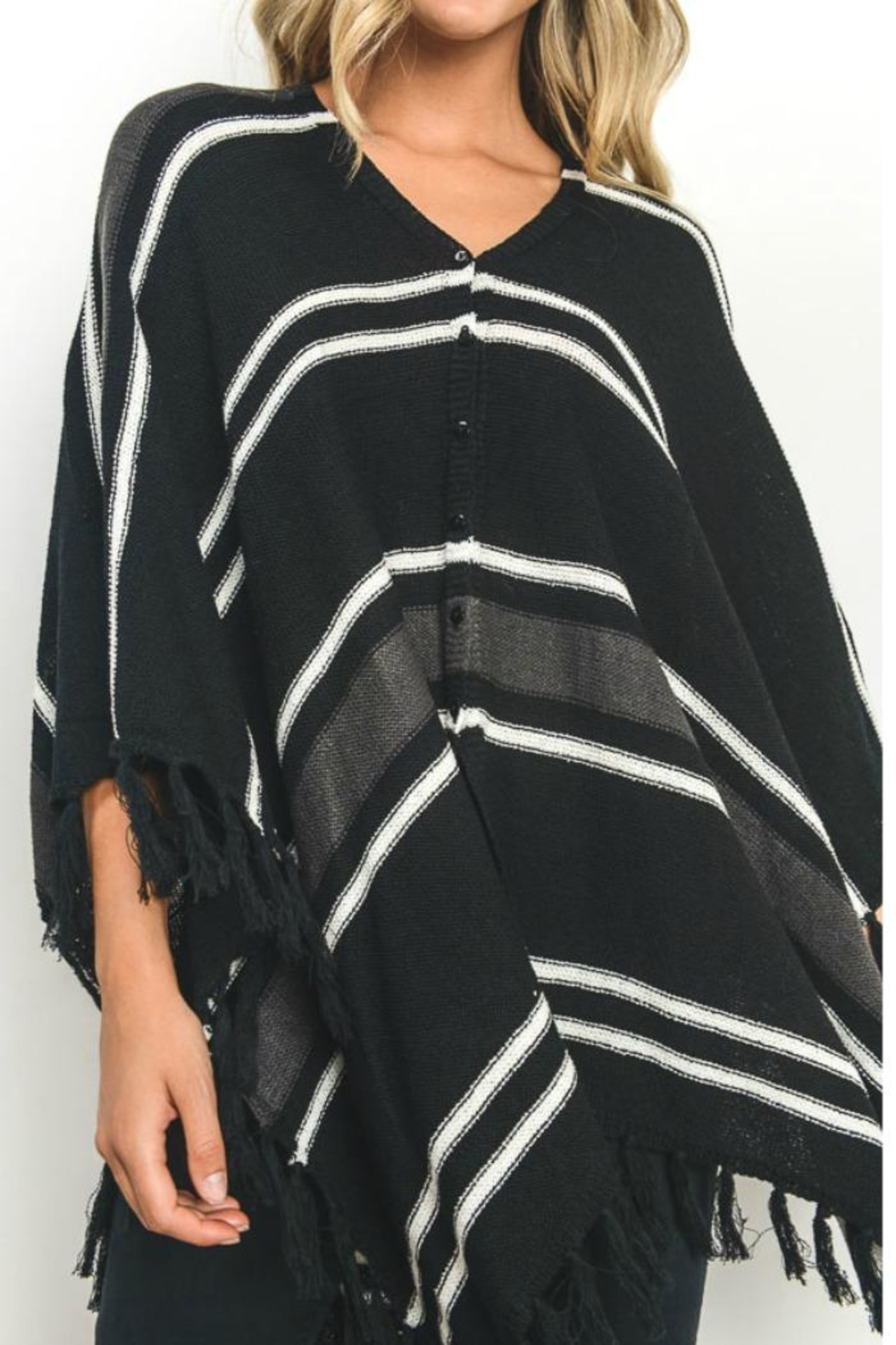 Gilli Button Front Poncho - Front Full Image
