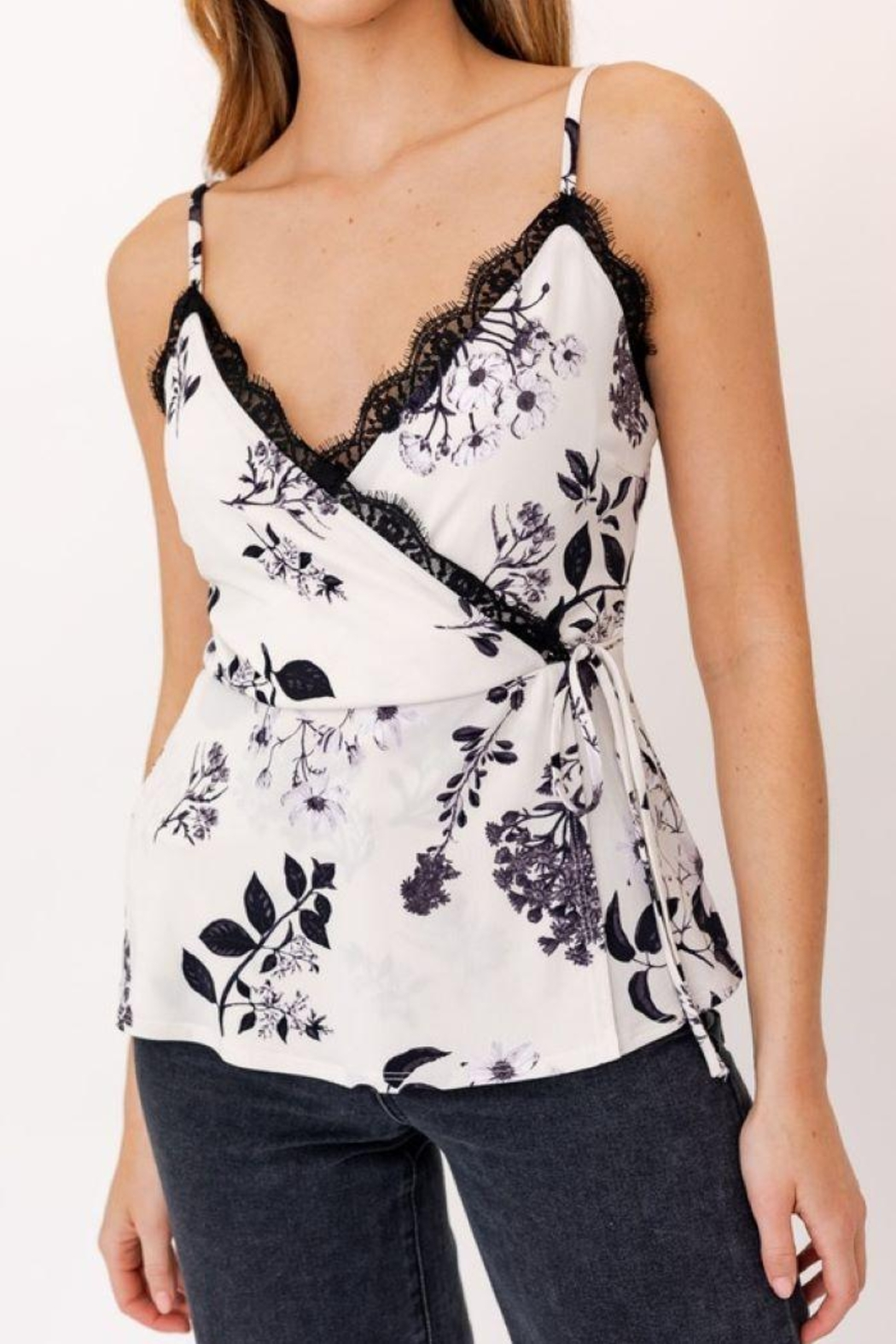 Gilli Faux Wrap Cami With Lace - Front Full Image