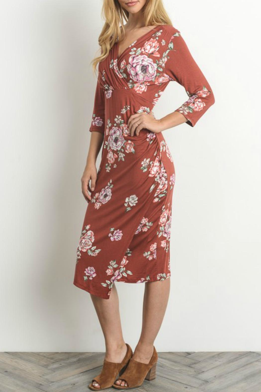 Gilli Floral Faux-Wrap-Bodycon Dress - Front Full Image