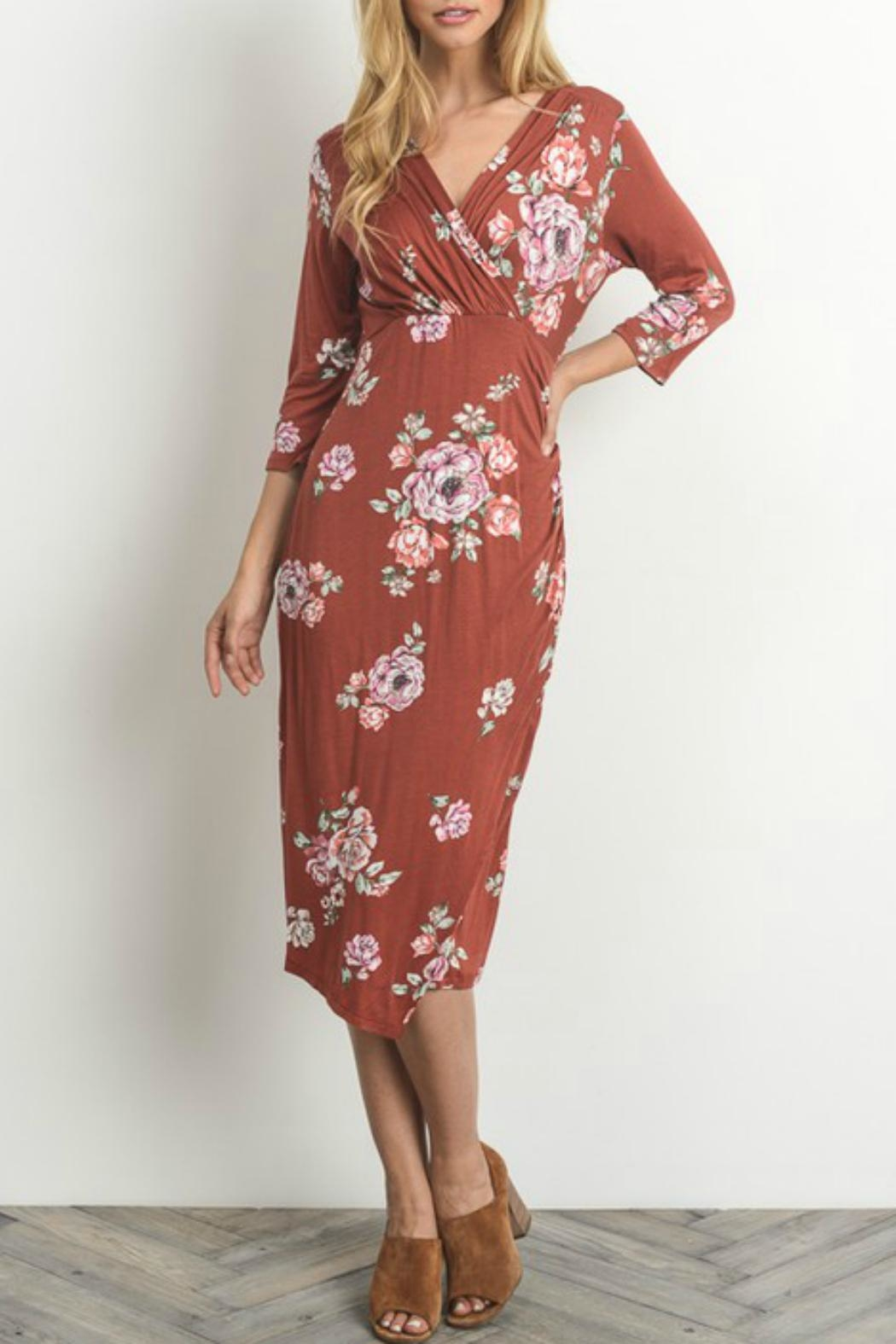 Gilli Floral Faux-Wrap-Bodycon Dress - Back Cropped Image