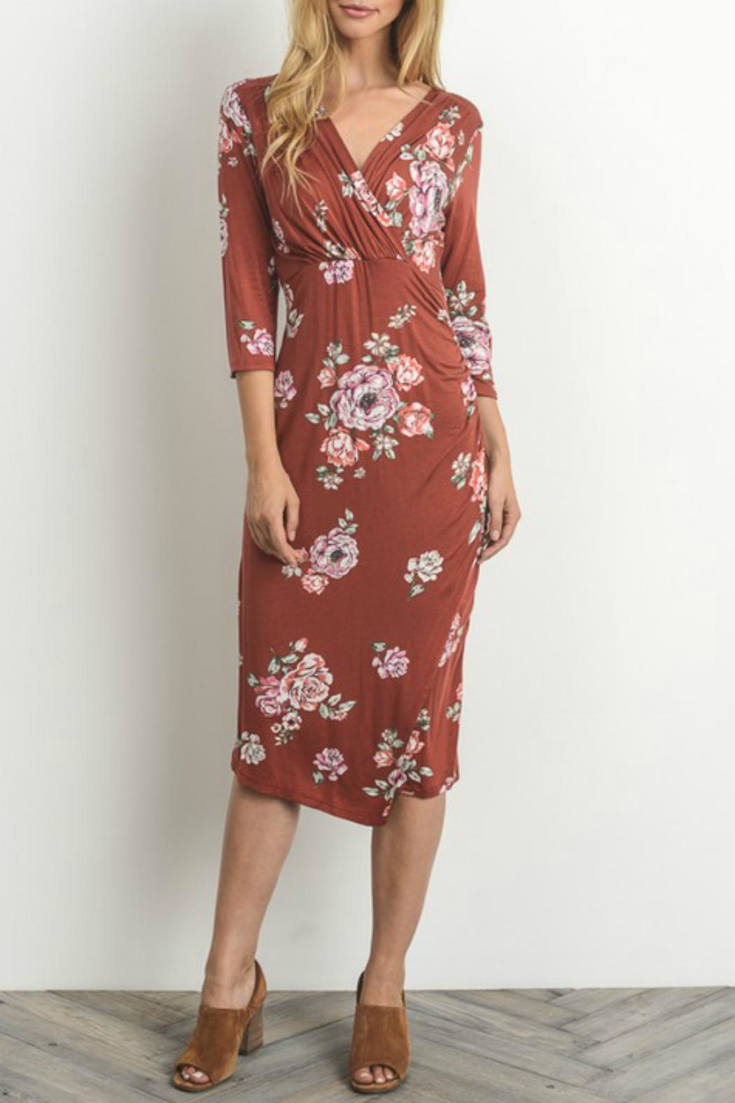 Gilli Floral Faux-Wrap-Bodycon Dress - Front Cropped Image