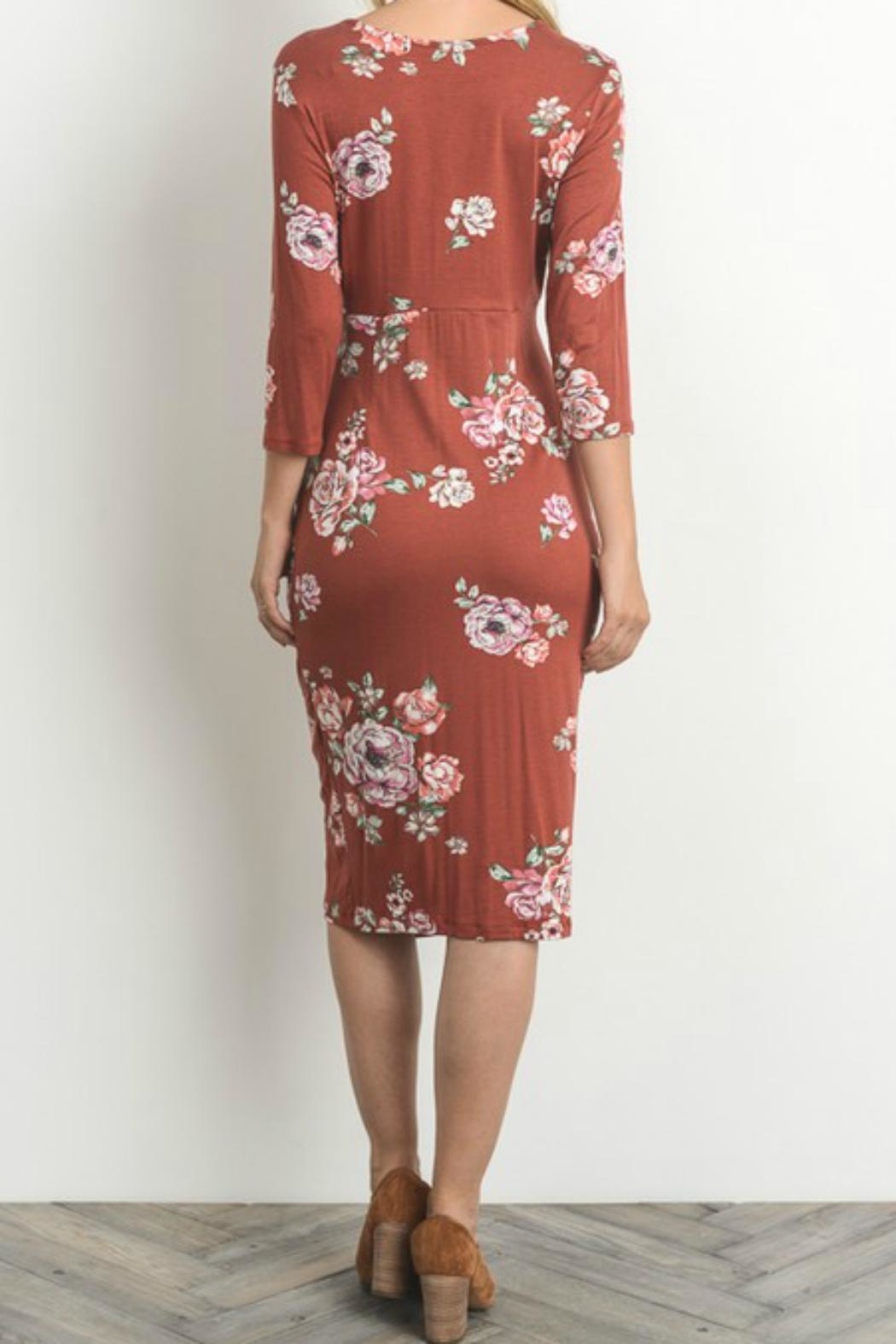 Gilli Floral Faux-Wrap-Bodycon Dress - Side Cropped Image