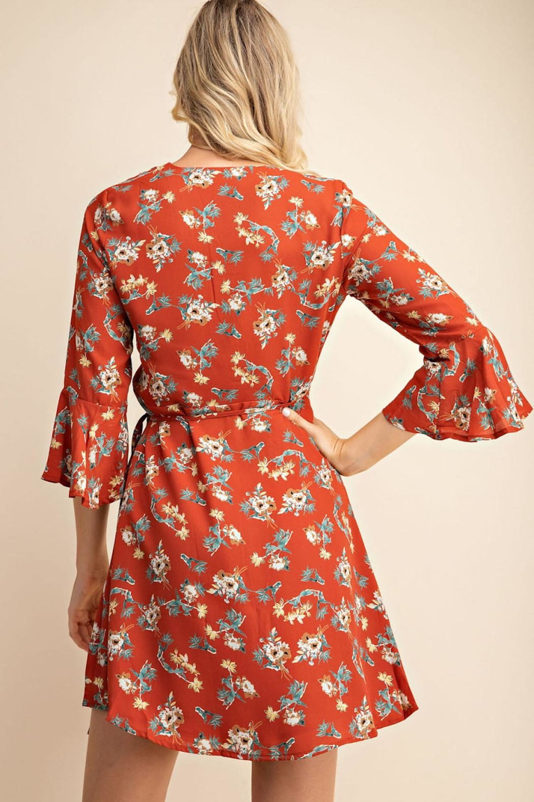 Gilli Floral Wrap Dress - Back Cropped Image