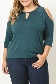 Gilli Green Cut Out Blouse - Front cropped