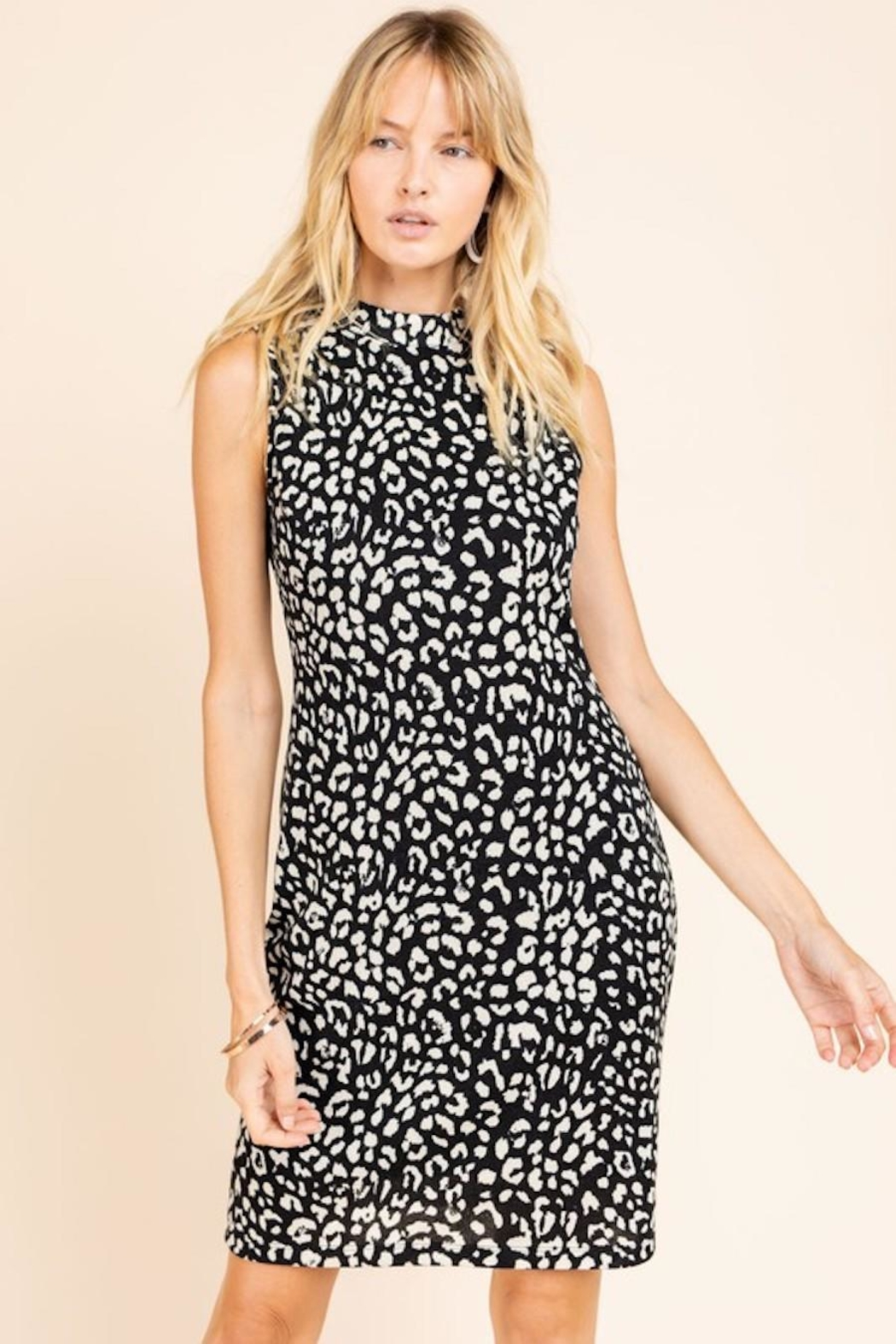 Gilli Leopard Bodycon Sweater Dress - Front Full Image