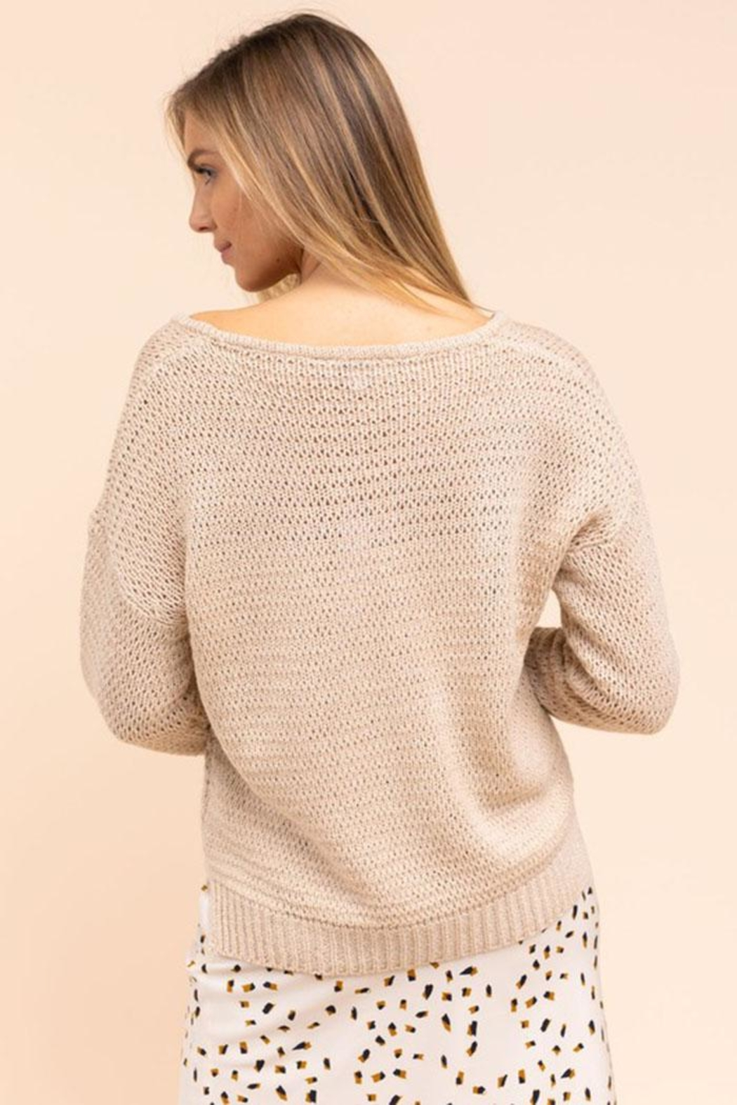 Gilli Loose Knit Sweater - Back Cropped Image