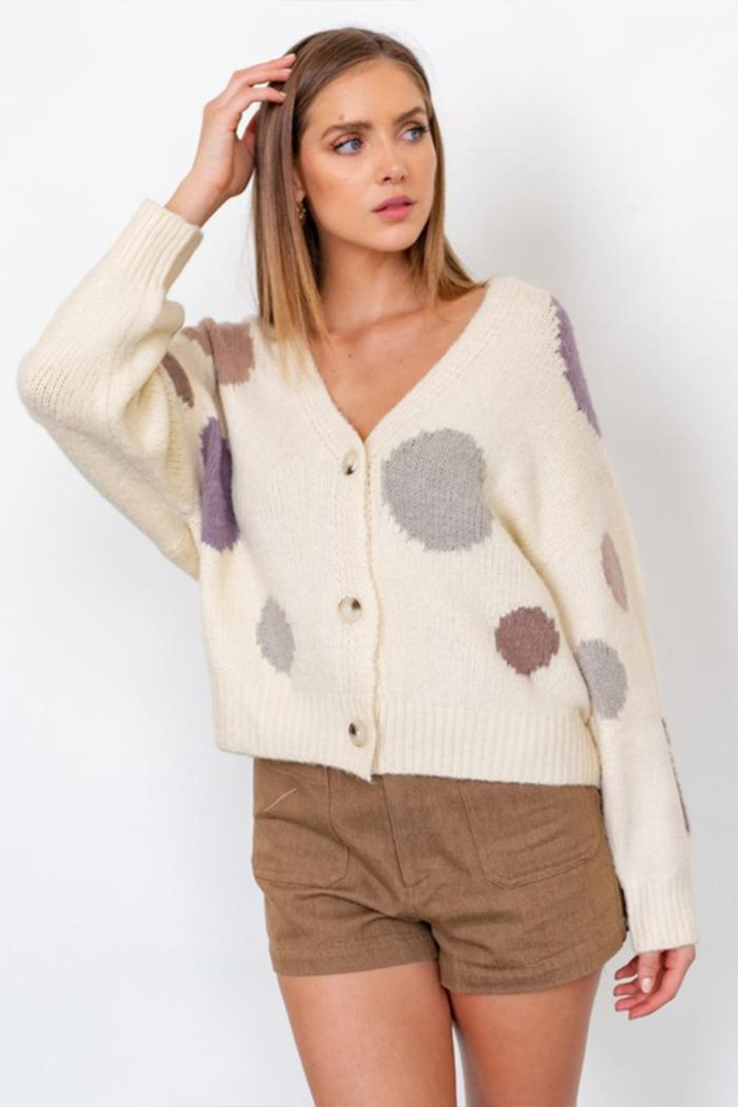 Gilli Multi Dot Cardigan - Front Cropped Image