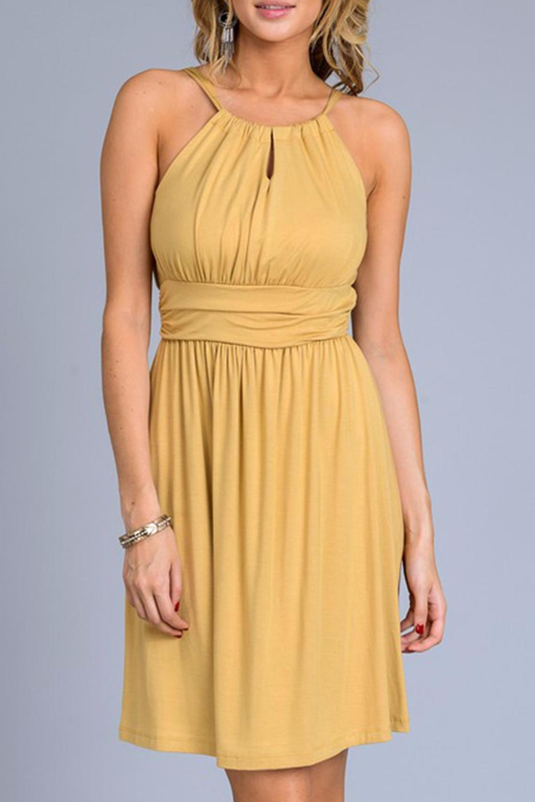 Gilli Mustard Sun Dress - Front Cropped Image