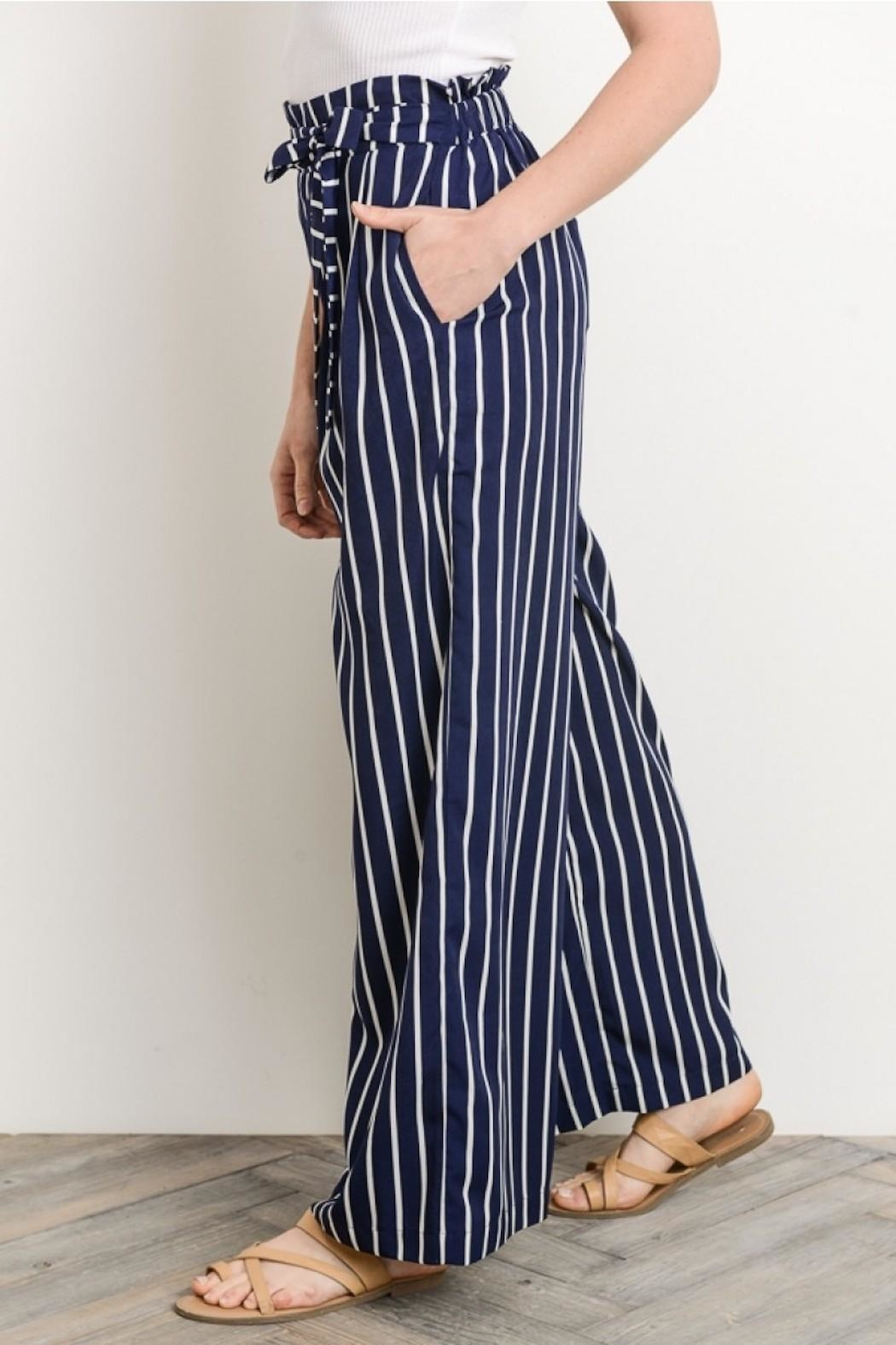 Gilli Navy Striped Pants - Side Cropped Image