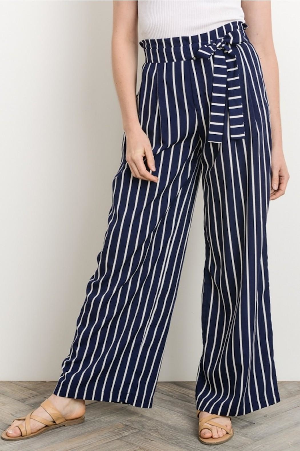 Gilli Navy Striped Pants - Front Full Image