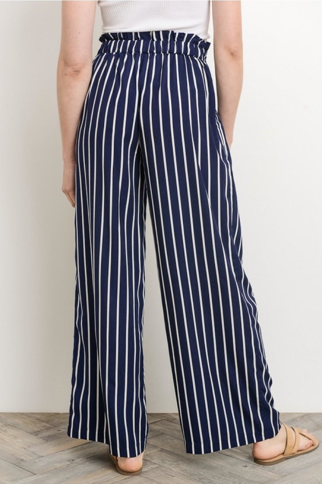 Gilli Navy Striped Pants - Back Cropped Image