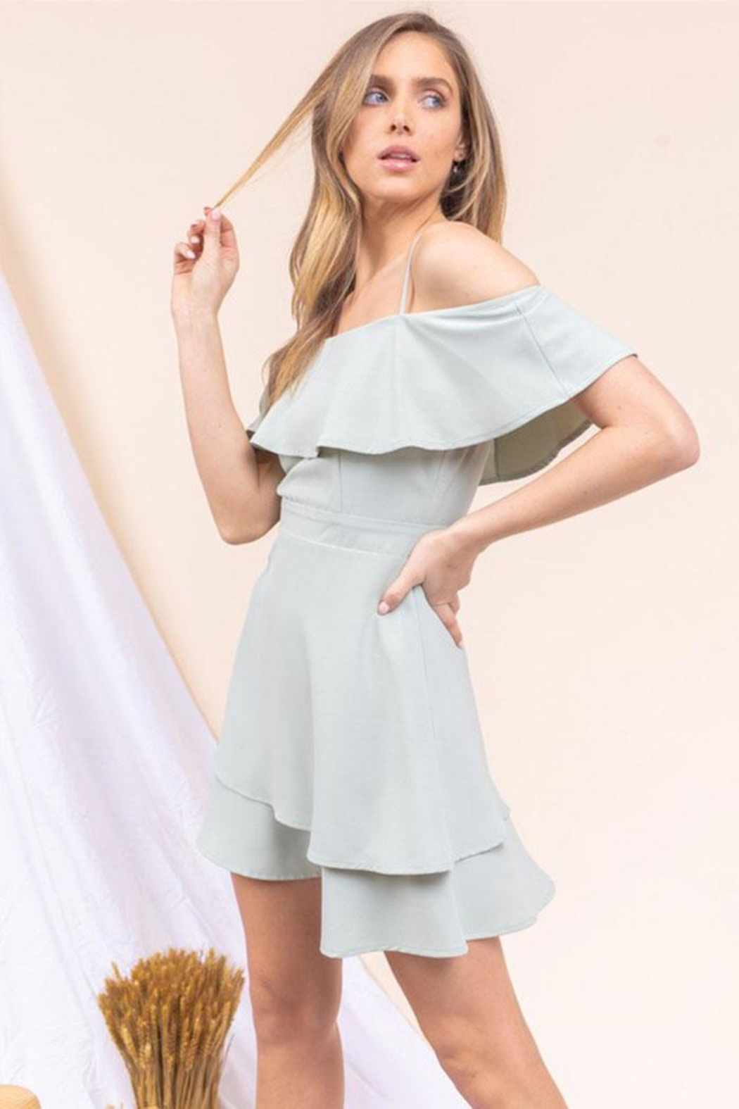 Gilli Off-The-Shoulder Ruffle Dress - Front Full Image