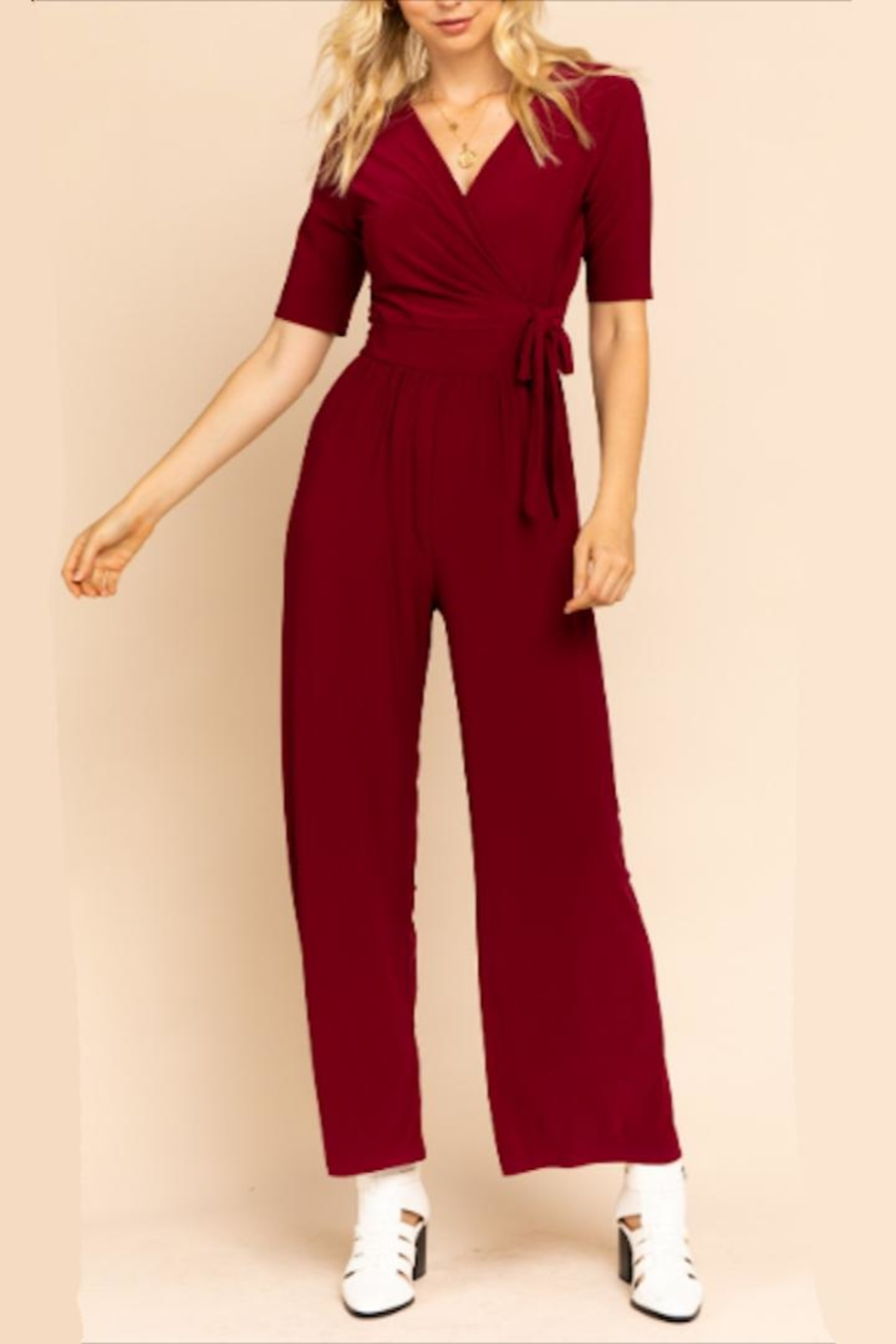 Gilli Perfect Burgundy Jumpsuit - Front Cropped Image