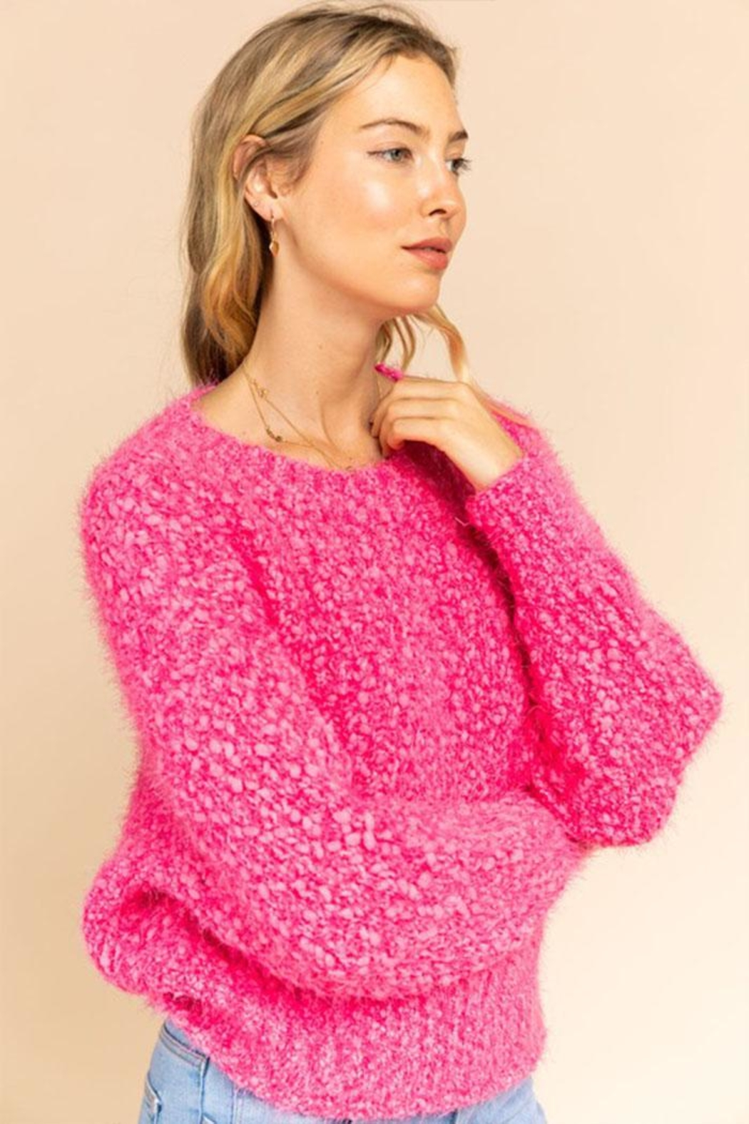 Gilli Popcorn Knit Sweater - Front Full Image