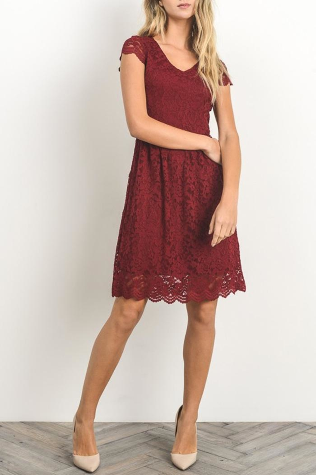 Gilli Red Lace Dress - Side Cropped Image
