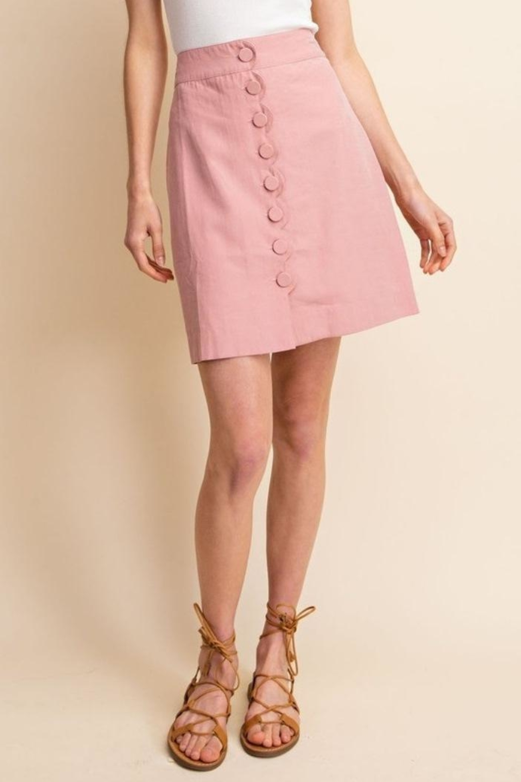 Gilli Scallop Button Skirt - Side Cropped Image