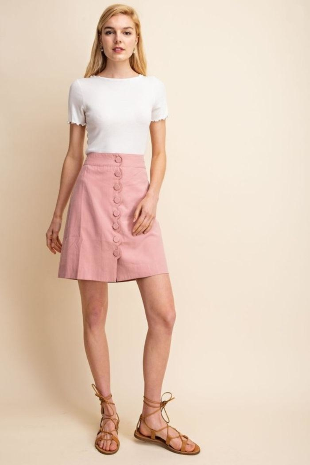 Gilli Scallop Button Skirt - Front Full Image