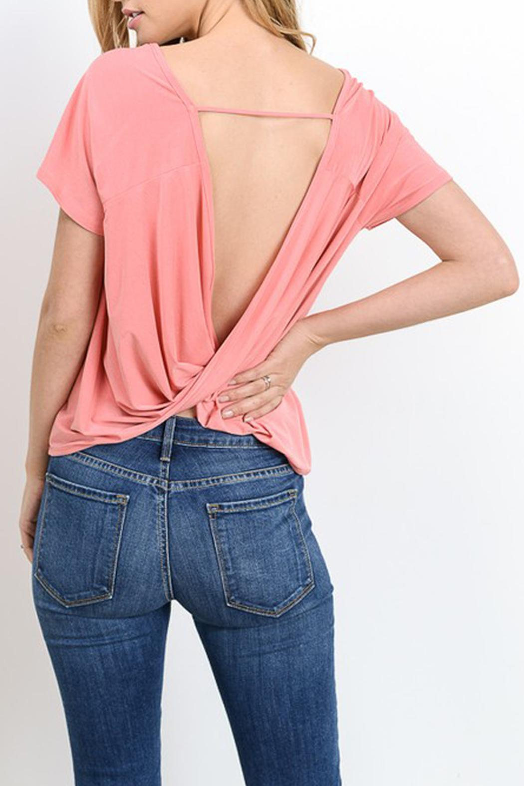 Gilli Draped Open Back Top - Front Cropped Image