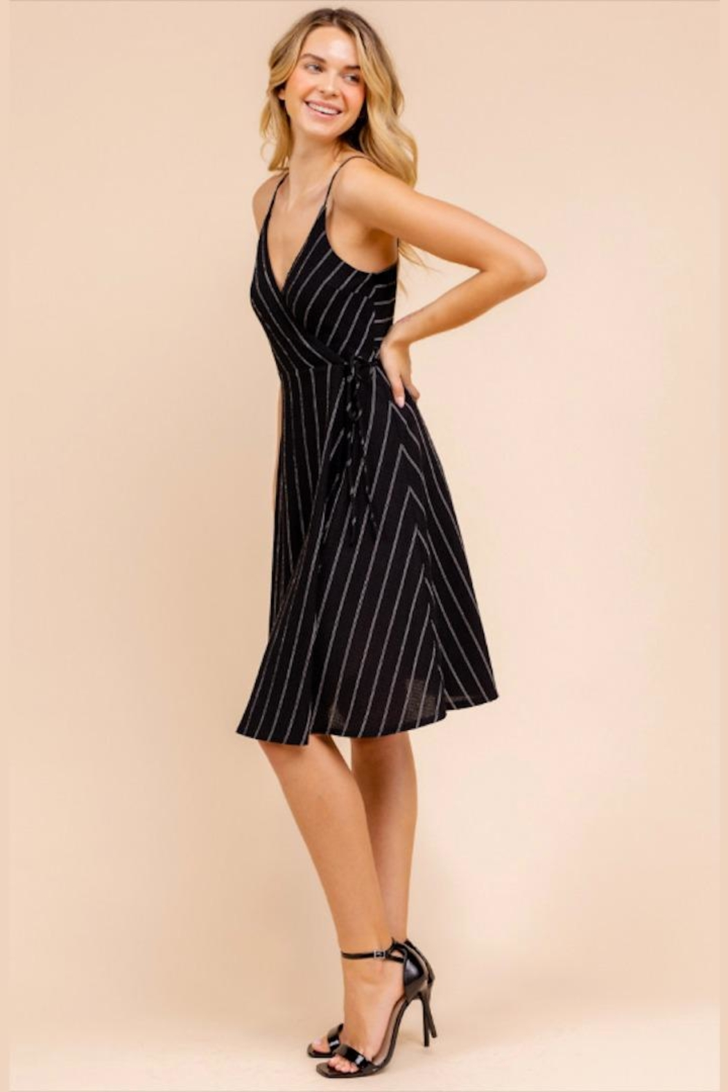 Gilli Striped Wrap Dress - Back Cropped Image