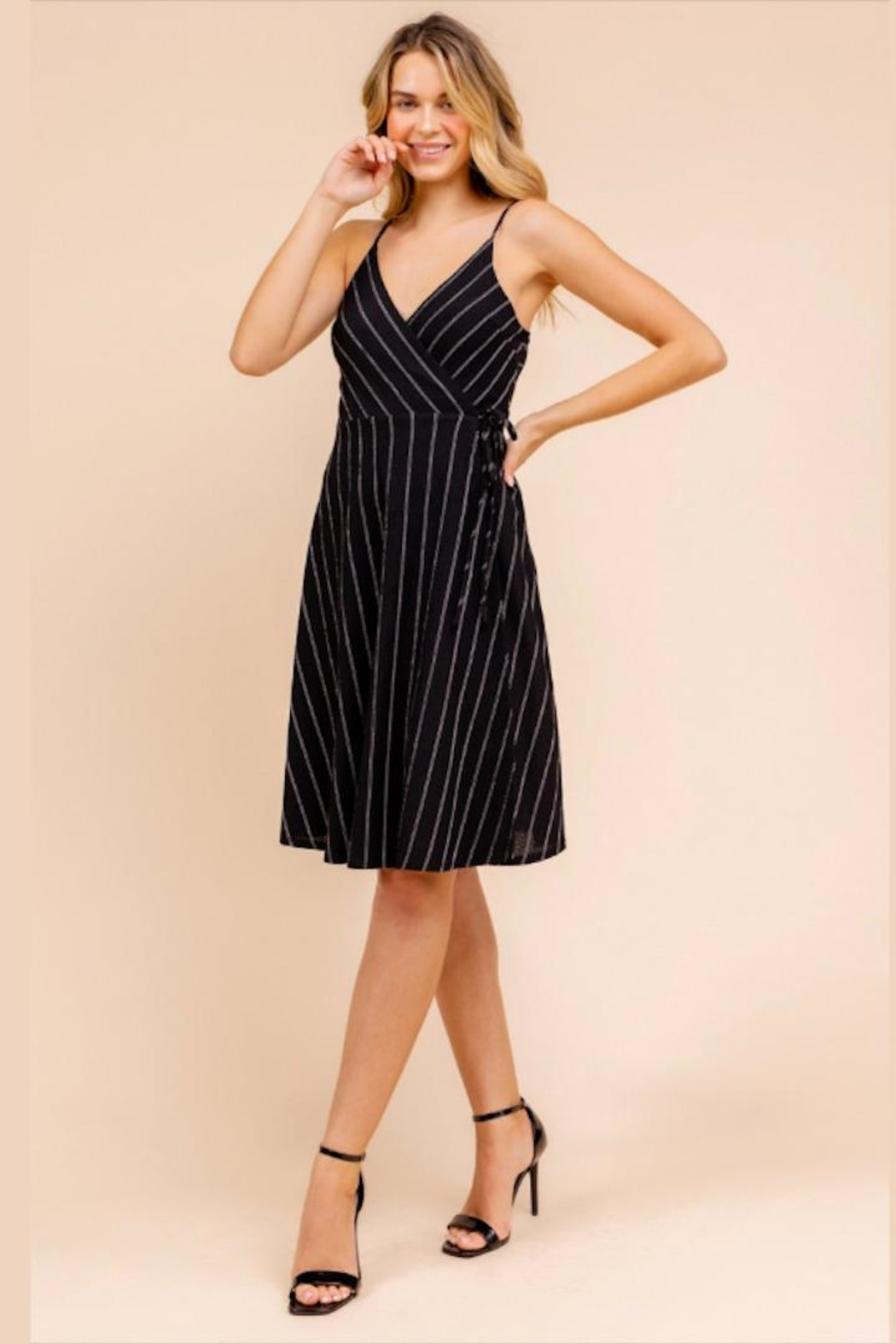 Gilli Striped Wrap Dress - Front Full Image
