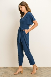 Gilli Teal Vneck Jumpsuit - Front full body