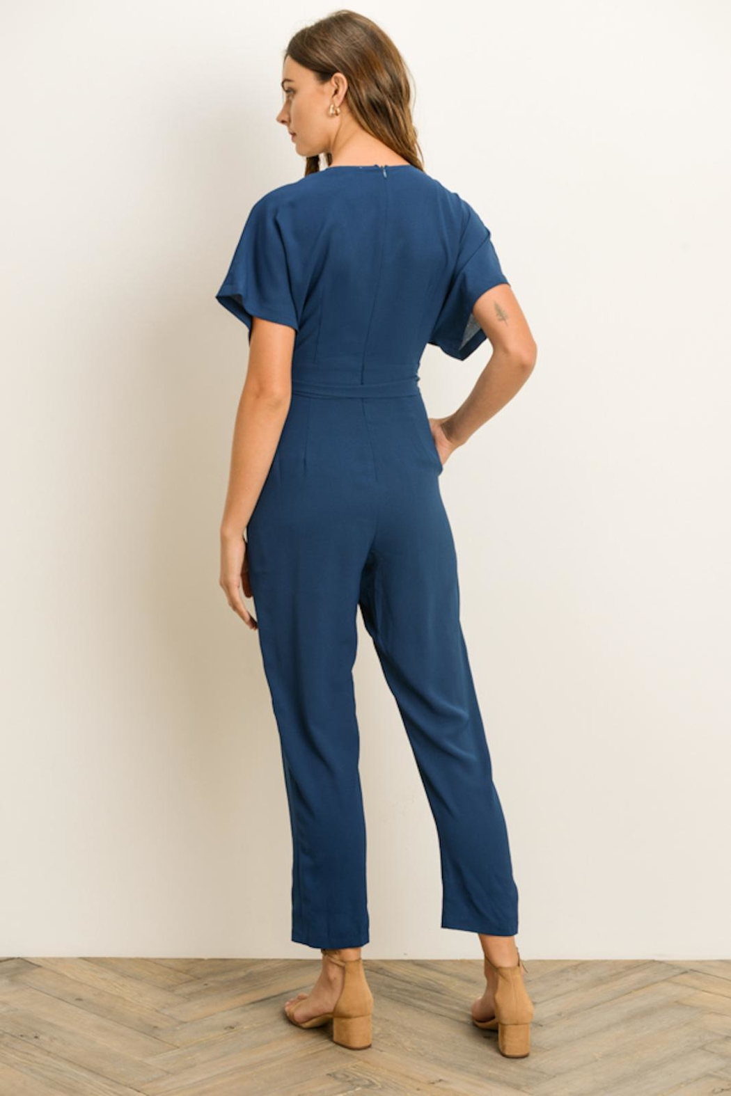 Gilli Teal Vneck Jumpsuit - Side Cropped Image
